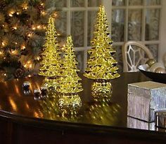 Set of 3 Twinkling Mercury Glass Trees with Timers by Valerie from QVC. Get your rebate from RebateBlast.