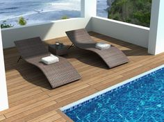 Enchanting Outdoor Design With Rattan Lounge Chairs And Small Table Also Using Wood Flooring