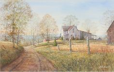 """Lois Sinnett (American, b.1934) """"Hilltop Farm"""" watercolor an old farmstead is framed by a southern Indiana fall landscape, signed lower right.  Lois Brown Sinnett is a member of The Hoosier Salon and the Indiana Plein Air Painters Assn. among others, and has exhibited locally and statewide for many years. She attended and later taught at Herron School of Art.  12"""" x 18 3/4"""""""