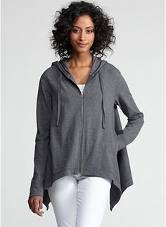 Hooded Boxy Long Cardigan with Dipped Hem in Organic Cotton Melange Stretch