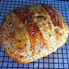 'Everything' Bread  *a no knead bread, made in a dutch oven Dough Ingredients: 3 cups King Arthur All Purpose Flour 1 tsp Salt 1/2 tsp Active Dry Yeast 1 1/2 cups Water (90-100 degrees or your yeasts