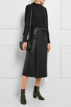 Sewing inspo: Isabel Marant leather wrap skirt. Sew in faux leather or suede