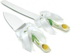 Hand Painted Calla Lily Cake Serving Set  $32.98
