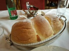 Salzburger Nockerl, with Raspberry Sauce.  We ate ours at the oldest restaurant in Europe, St Peters, Salzburg, Austria.