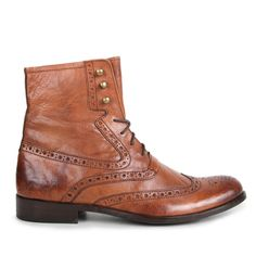 Paolo Vandini Mens Tan Brogue Detail Leather Boots
