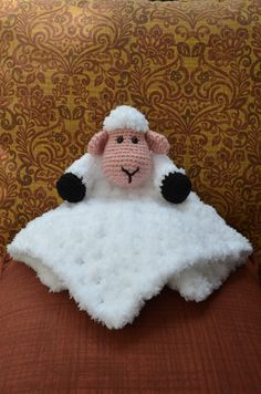 Fluffy the Sheep Lovey Crochet Security Blanket by MyCreativeMuse on Etsy