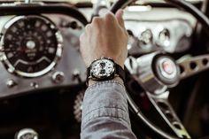 #briston clubmaster Sport Acetate Chronograph Black with white dial