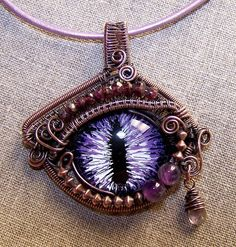 Artansoul purple dragon evil eye wire wrapped pendant, copper, steampunk, gothic. (+w+)