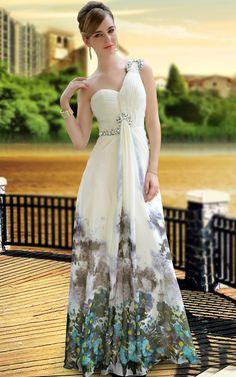 Meryl One Shoulder Natural Waist Crystals Long Formal Evening