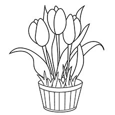 Big Tulip Flower Coloring Pages from Tulip Coloring Pages. Children's world can be seen in his drawings. You can print and color tulip coloring pictures of flowers. It will be the perfect one to make your chil. Printable Flower Coloring Pages, Birthday Coloring Pages, Spring Coloring Pages, Easy Coloring Pages, Coloring Pages To Print, Coloring Books, Kids Coloring, Adult Coloring, Small Flowers