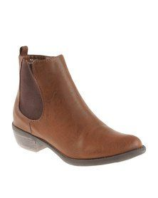 Utopia Gusset Ankle Boots Brown
