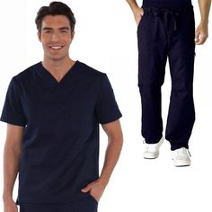 White Koi Men's Set in Navy consist of Set Consists of Koi Jason Top with a Henley neckline, plenty of pockets: 2 side, 1 sleeve and 1 chest. And Koi James Trousers that has a zip-fly drawstring close, an elasticated waistband, deep pockets and adjustable hem. £54.99 #dentalscrub #scrubset #malescrub #uniforms #medicaluniform #scrubs #blueuniform