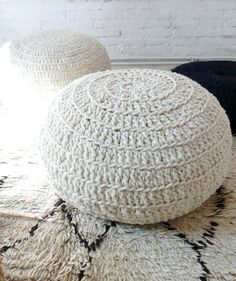 Pouf Crochet Wool  Natural undyed by gloandmo on Etsy, €95.00