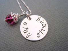 Handstamped necklace stay strong sterling silver womans jewelry girls pendant personalized inspirational fuschia crystal on Etsy, $30.00