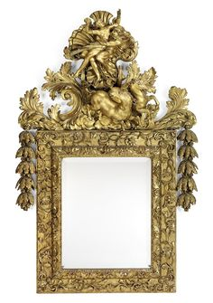 A NORTH GERMAN GILTWOOD MIRROR LATE 17TH/EARLY 18TH CENTURY AND LATER. Surmounted by an elaborate cresting depicting Zeus in a horsedrawn chariot above a later rectangular bevelled plate surrounded by trailing foliage and flanked by floral swags, the cresting probably original, the side elements probably associated, re-gilt 66 in. (168 cm.) high; 42 in. (107 cm.) wide.