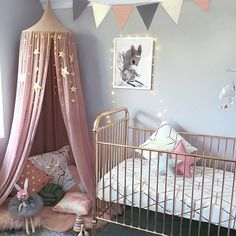 Easy to adapt for older girl NURSERY / / Baby girl's bedroom all set up for her arrival with the stunning Rose Gold cot, a print and Dusty Pink Canopy from with cushions as a cute storytime nook. So lovely via ✔️ Baby Bedroom, Nursery Room, Girls Bedroom, Nursery Decor, Nursery Ideas, White Nursery, Bedroom Ideas, Bedroom Decor, Whimsical Nursery