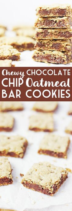 Chewy chocolate chip oatmeal bar cookies are the perfect after-school treat, potluck dessert or late-night snack! Easy to make, easy to bake & easy to eat! Brownie Recipes, Cookie Recipes, Dessert Recipes, Easy Potluck Desserts, Thanksgiving Desserts, Delicious Desserts, Oatmeal Bars, Chocolate Chip Oatmeal, Chocolate Cookies