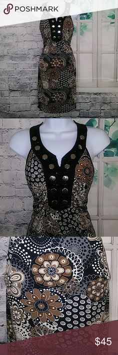 "Cocomo Floral BoHo Sequin Studded Chic Dress Inventory # E022 Very Classy and Elegant!!! Halter style dress, floral/paisleypattern Sequins and studs along collar Very good condition! Polyester (thin) and elastane Pit to Pit:  15.5"" Total Length:  33.5"" Cocomo Dresses"