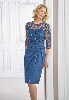 8c1eb3b55 Jasmine Black Label M190017 Blue Mother Of The Bride Dress Vestido Noiva  Curto