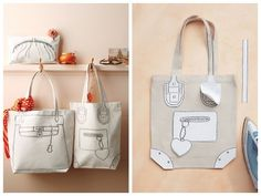 "DIY ""trompe l'oeil"" Canvas Tote Bag Tutorial and Template from Martha Stewart."