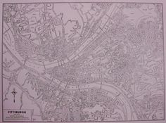 PITTSBURGH Map of Pittsburgh Pennsylvania 1946 by plaindealing