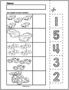 Race Cars Cut & Match Worksheets | Numbers 1-5