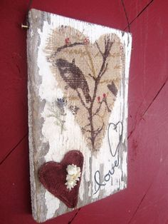 Chippy Paint Valentine Day Sign Plaque Burlap Birds Montana Heart Rusty Love Primitive Country Rustic  Lavender Brass Nail  FTTeam OFG Team
