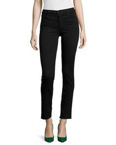 J BRAND Maria Mid-Rise Straight-Leg Jeans, Seriously Black. #jbrand #cloth #