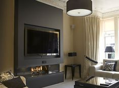 Wall Design on Firestorm Specialists In Fireplace Design Fireplace Feature Wall, Black Feature Wall, Feature Wall Living Room, Living Room Tv Unit, Fireplace Design, My Living Room, Home And Living, Living Spaces, Fireplace Ideas