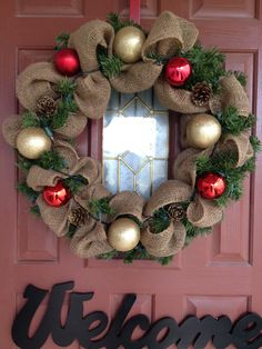 I repurposed an old green lighted wreath with some burlap, gold glittered pine cones, and red n pearl white Christmas balls. All of this was leftovers from other projects! Bonus!!!
