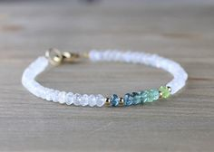 Ombre Blue Green Tourmaline & Moonstone Beaded Bracelet