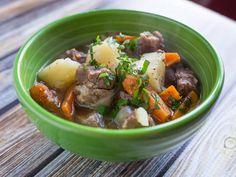 Pressure Cooker Irish Lamb Stew recipe - Lamb, potatoes, and carrots in the pressure cooker.