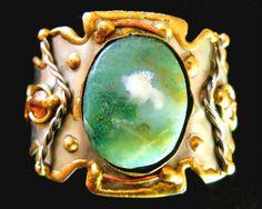 Cuff Bracelet Mixed Metals Moss Agate Vintage by RenaissanceFair