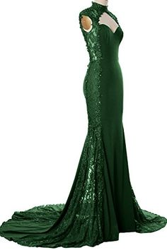 "MACloth Women Mermaid High Neck Beaded Lace Jersey Long Formal Evening Gown (18w, Dark Green). Quality Made-To-Order Dresses. Please have your measurements taken first by a professional tailor or measure yourself by following the measure guide (see the product pictures). Find your proper size in our Size Chart, or provide us the following measurements in the Product Description for more fitted dresses and choose the closest size to you when making the order. You will receive an ""Additional…"