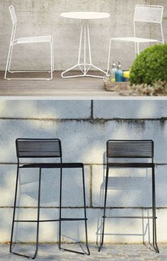 Contemporary bar chair / metal / sled base / garden LOG Jankurtzmöbel