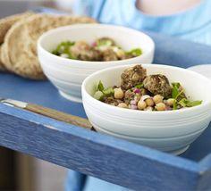 LAMB & FETA MEATBALLS W/ WARM CHICKPEA SALAD - minced lamb / red onion / parsley / feta cheese / cumin / chickpeas / lemon / pitta / yogurt