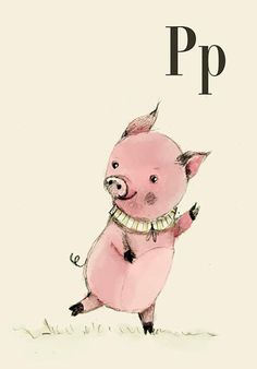 P for Pig  Alphabet art  Alphabet print  ABC wall art  от holli