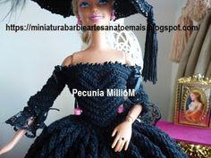 Vestido de Época em Crochê Para Boneca Barbie - Sra. Inglesa do Séc. XVIII Por Pecunia MillioM blusa