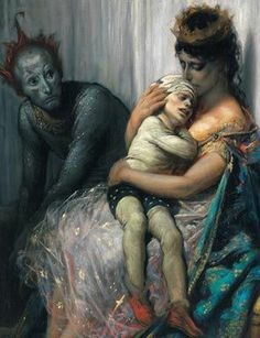 La Famille du Saltimbanque: L'Enfant Blesse by Gustave Dore