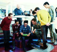 Simon Pegg, Zoe Saldana, J.J. Abrams, Chris Pine, Karl Urban, Anton Yelchin, John Cho on the Star Trek Into Darkness set.