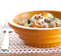 Autumn Vegetable Pilaf The seasoning packet from the rice mix adds flavor to this easy side dish full of sweet potatoes and zucchini. Choose any style rice mix you like.