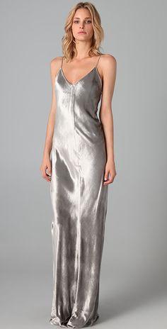 T by Alexander Wang Panne Velvet Long Dress | SHOPBOP
