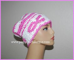 Breast Cancer Awareness Slouchy Hat Crochet Pattern