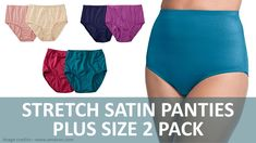 Stretch Satin Panties - Plus Size 2 Pack