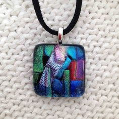 EP 181 blue green aqua red dichroic glass by FiredCreationsGlass