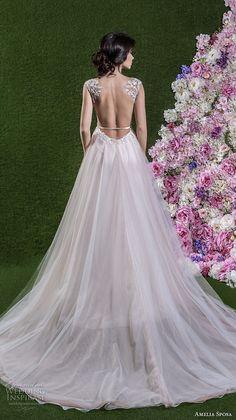amelia sposa 2018 bridal cap sleeves v neck heavily embellished bodice tulle skirt romantic a line wedding dress open back chapel train (ginevra) bv -- Amelia Sposa 2018 Wedding Dresses