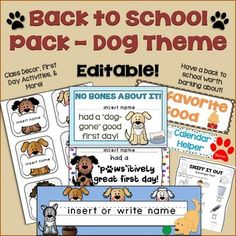 """Everything you need to have a """"paws""""itively great back to school including classroom decor, welcome letters, first day of school activities, first day awards, and more!  This dog-themed back to school pack includes 2 editable PowerPoint presentations that contain the following:- Student welcome letter in both color and black and white (text is editable)- Name tags (can also be used as cubby tags, labels, game pieces, etc.) - name field is editable, names can be typed or hand written- Desk…"""