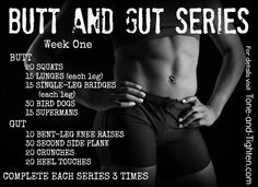 "A 4-week program to nuke your two favorite areas - introducing the ""Butt and Gut"" series from www.Tone-and-Tighten.com"