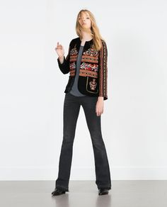 VELVET JACKET (black embroidered floral 6895/242) $169 | Zara