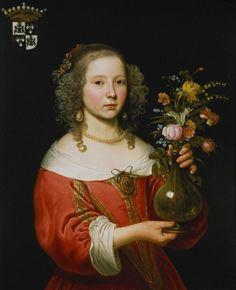 Potrait Drawing Giclee Print: Portrait of a Young Girl by Abraham van den Tempel : - Ikebana, Potrait Painting, 17th Century Fashion, Dutch Golden Age, Dutch Painters, Baroque Fashion, Johannes Vermeer, Glamour, Flower Fashion